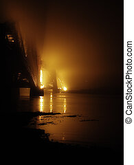Bridge in the mist - Forth Rail bridge Edinburgh Scotland at...