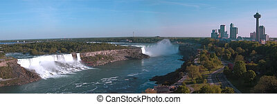 Niagara Panorama - American, Horse Shoe falls and tower at...