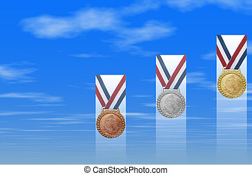 Bronze Silver Gold - Gold, silver, bronze medals with red...