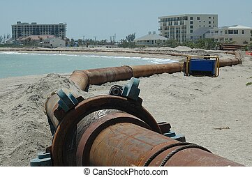 Beach Erosion - Photographed at Ft. Pierce, Florida. Beach...
