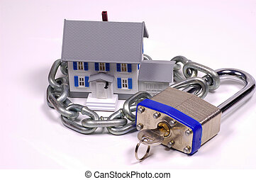 Home Security - Miniature House With Lock and Chain