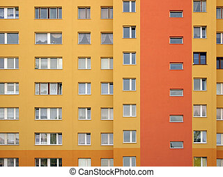 Windows array - Modular elevation, intensive orange colors.