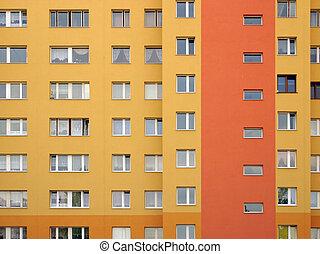 Windows array - Modular elevation, intensive orange colors.
