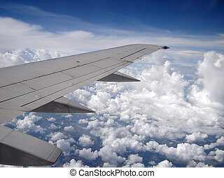 On Wing - A view out the window of an airplane