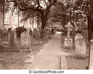 Cemetery path - A path through cemetery Shot in sepia