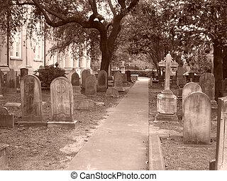 Cemetery path - A path through cemetery.  Shot in sepia