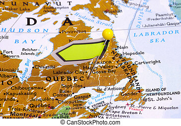 Quebec - Pin in a Map Locating Quebec