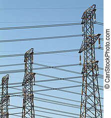 Crossed wires - Electricity power pylons or towers with a...
