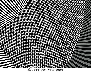 Twirl asymmetric - Black and white asymmetric pattern