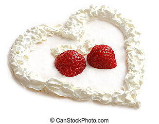 Sweet Heart - Heart made from whip and strawberries on white...