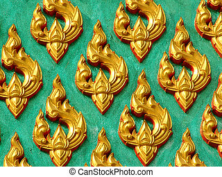 Temple detail - Decorative detail from a Buddhist temple in...