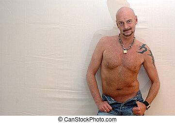 Semi nude. - A portrait of a semi nude man.