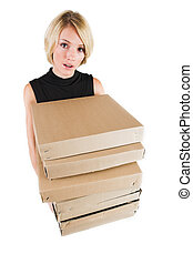 Business Lady 17 - Blond Business woman carrying boxes