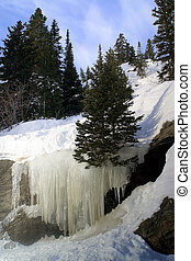 Bear Lake Ice Falls - Natural Ice falls from runoff at Bear...