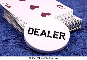 Dealer - Deck of Cards and Dealer Chip