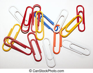 paper clips - pile of coloured paper clips