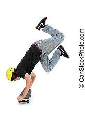 Teen Boy Skateboard - Teen boy with skateboard over white...