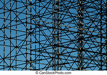 Structure - scaffolding supporting temporary bleachers for a...
