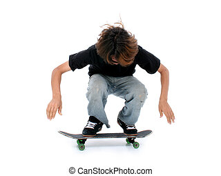 Teen Boy Skateboard - Teen boy with skateboard over white....