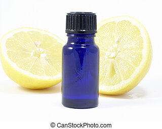 Aromatherapy lemon with oil bottle