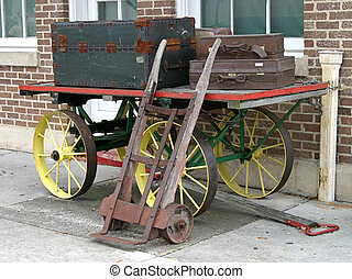 Antique Baggage Cart - An antique baggage cart from a...