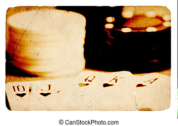 Royal Flush - Cards and Poker Chips With Aged Photo Look.