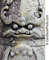 Demon face - Demon's face on a statue at a Thai temple