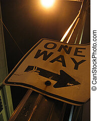 One Way - One way sign by the streets of downtown, Seattle