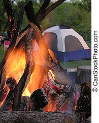 Campfire and tent - Campfire with tent in background