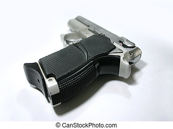 9mm Handgun - A 9mm semi automtic handgun closeup...