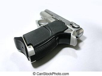 9mm Handgun - A 9mm semi automtic handgun closeup...