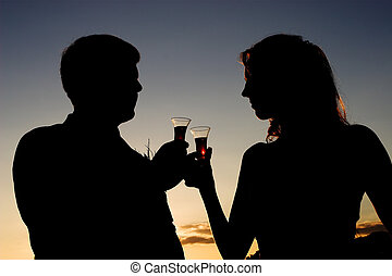 A Toast - A newlywed couple toasting their union