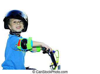 Child on Bike - Child Riding a Bike on White Background