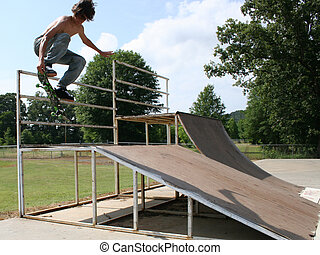 Teen Boy Skateboarding Outdoors