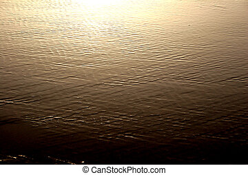 Golden Texture - Golden sunset water sheen on sand