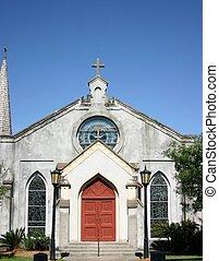 red door on church - church front with red door