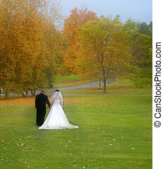 Bride & Groom field - Bride and groom with lots of fall...
