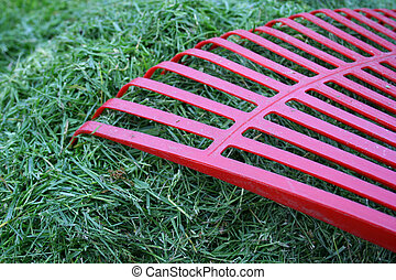 Rake and grass - Gardening: rake and grass.