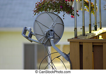 Satellite Dish - Dual LNB Satellite Dish on a Residential...