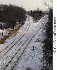 trilhas, trem, Inverno