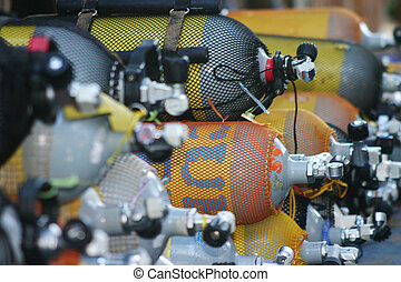 Dive cylinders - Scuba dive Oxygen cylinders ready for use
