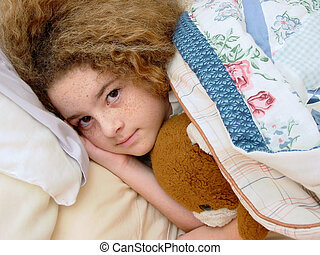 Bedtime Girl - A young girl tucked into bed with her teddy...