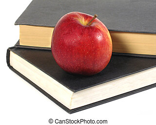 School Days - Stacked books and an apple
