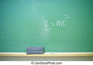 E=mc2 equation 2 - A horizontal green chalkboard with Albert...