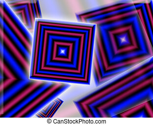 digital art - blue and red digital square art