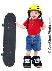 Boy Child Skateboard - Boy In Large Shoes With Helmet And...