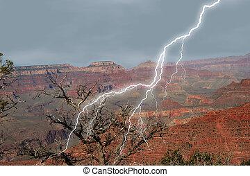 Canyon Lightening - Lightening striking at Grand Canyon near...