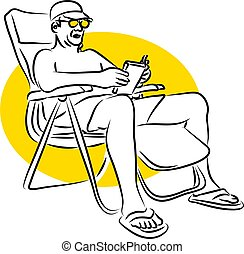 Vacation - man relaxing on vacation