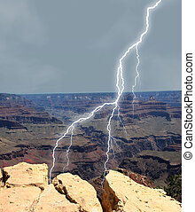 Lightening on Rocks - Lightening striking at Grand Canyon...