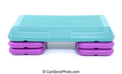 Aerobic Step - Purple and Teal Aerobic Step Over White. Shot...
